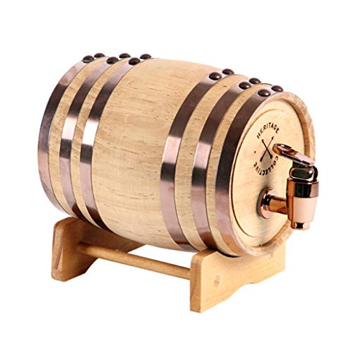 Oak Barrel Wood Wine Dispenser Built-in Aluminum Foil Liner with Wood Stand for Storing Your own Whiskey, Beer, Wine, Bourbon, Brandy, Hot Sauce & More 5 Liters by Woode (Image #6)