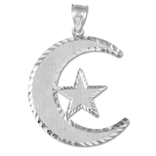 Middle Eastern Jewelry 10k White Gold Islamic Charm Crescent Moon and Star Pendant