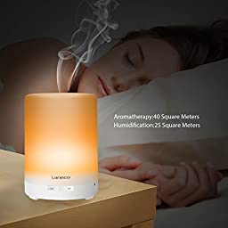 [ Essential Oil Diffuser ] Laneco 300ml Portable Cool Mist Aroma Humidifier ( Ultrasonic Aromatherapy And Waterless Auto off ) With 7 Color Changing LED Light For Baby Room Home Bedroom Office Yoga