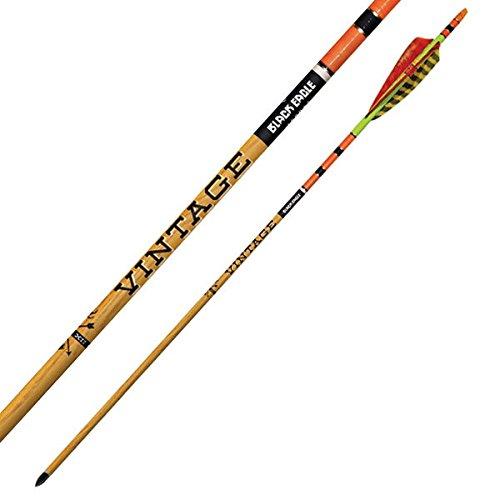 Black Eagle Vintage Traditional Hunting Half Dozen Arrows w/Feathers-Yellow/Orange-500 Spine