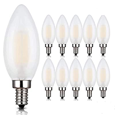 E12 LED Bulbs,6W LED Candelabra Light Bulbs, B11 LED Chandelier Bulbs, 6W Filament LED Light Bulb, E12 Base LED Candle Bulbs, C35 Frosted Glass Torpedo Shape Bullet Top,2700K Warm White,10 Pack