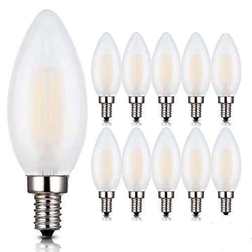 E12 LED Bulbs,6W LED Candelabra Light Bulbs, B11 LED Chandelier Bulbs, 6W Filament LED Light Bulb, E12 Base LED Candle Bulbs, C35 Frosted Glass Torpedo Shape Bullet Top,2700K Warm White,10 Pack