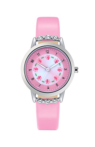Watches for Girls Leather Band Pink Flowers Dial with Diamond Cute Sports Watch for Children Casual Waterproof Kids Wristwatches