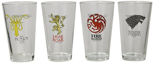Game of Thrones Collectible Pint Glass Set, Stark, Targaryen, Lannister and Greyjoy by Game of Thrones