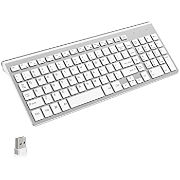 wireless keyboard j joyaccess 2 4g slim and compact wireless keyboard white silver. Black Bedroom Furniture Sets. Home Design Ideas