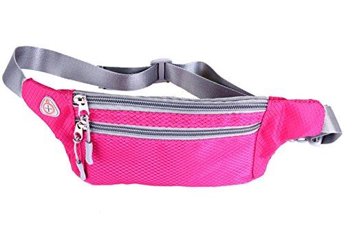 Waist Belt Polyester Zipper Bag for Men Women Fuchsia - 1