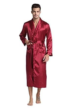TONY & CANDICE Men's Long Classic Satin Charmeuse Robe (Medium, Burgundy)