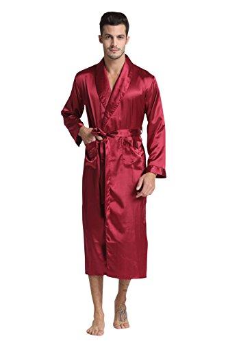 Red Mens Robe (TONY & CANDICE (TM) Men's Long Classic Satin Charmeuse Robe (Large,)