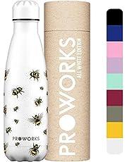 Proworks RVS Sport Waterfles | Dubbel Geïsoleerde Thermosfles voor 12 Uur Warme en 24 Uur Koude Drankjes - ideaal voor thuis, op het werk, in de Sportschool en op reis - BPA Vrij – 350ml / 500ml / 750ml / 1L