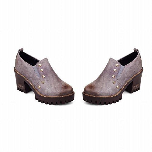 Mee Shoes Damen mit Nieten chunky heels runde Pumps Grau