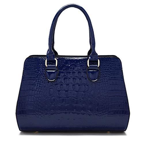 Para Azul Mano Cmbyn Gran Capacidad Bolso Mujer piel Lacada De tqRAcaBz