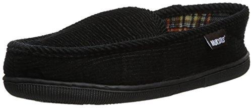 MUK LUKS Men's Corduroy Moccasin with Flannel Lining Slip-On Loafer, Black, Medium