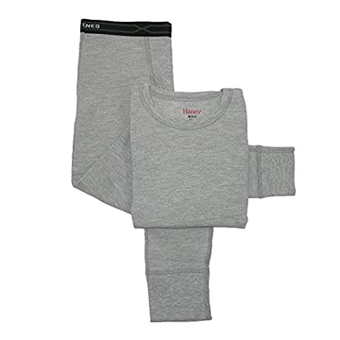 Hanes Big Boys' Thermal Underwear Set, Grey Heather, X-Large/18-20