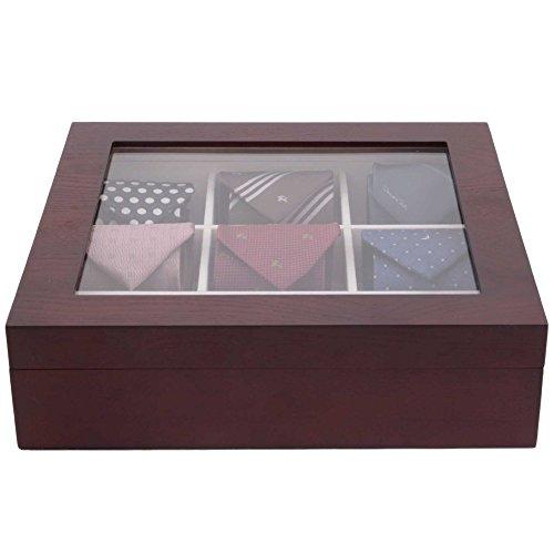 techswiss tie box storage case organizer in wood glass lid valet  bown