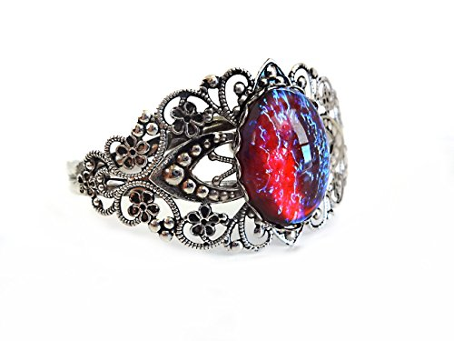 Little Gem Girl Mexican Opal Dragons Breath Cuff Color Changing Bracelet Red Blue Glass Dome