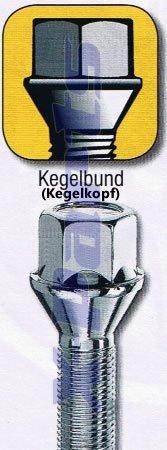 20 Bolzen Radschraube Schraube Kegelbund Kegelkopf M12x1,25-55mm Gewindel/änge