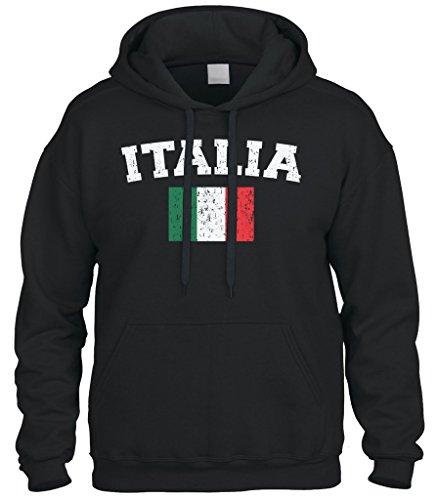 - Cybertela Faded Distressed Italia Flag Sweatshirt Hoodie Hoody (Black, Large)