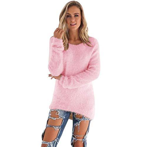 Lana Casual Rotondo Giovane Doona Modern Stile Felpe Elegante Monocromo Invernali Rosa Moda Manica Moda Lunga Autunno Grazioso Lunghi Maglione Maglioni Lunga Pullover Accogliente Collo 0RxO8w48
