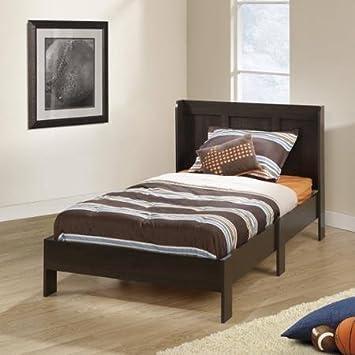 sauder parklane twin platform bed with headboard cinnamon cherry guestroom bedroom bed set