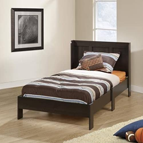 Sauder Parklane Twin Platform Bed With Headboard, Cinnamon Cherry    Guestroom Childrenu0027s Bedroom Bed Set For Relaxed Sleeping   Engineered Wood  Construction