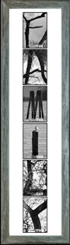 Creative Letter Art Vertical Framed Family with 6 Unique Black and White 4x6 Nature Themed Alphabet Photographs, White Matting and 42 by 12 inch Driftwood Frame (Bw Creative Wood)
