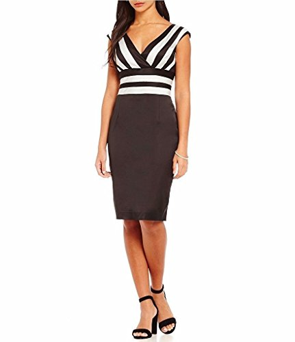 - Kay Unger Womens Satin Striped Cocktail Dress B/W 14