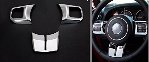 Nicebee Silver Steering Wheel Cross Cover Trim Molding Interior Accessories ABS For Jeep Grand Cherokee 2011-2013