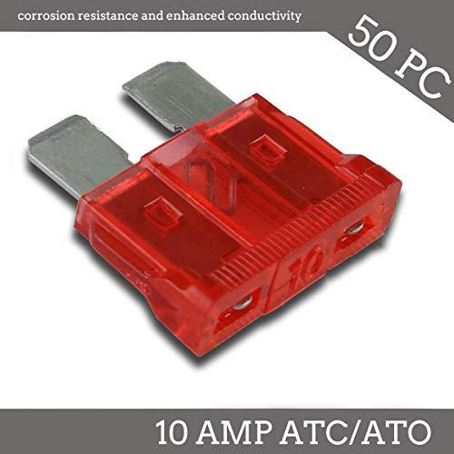 Deepa 50 Pack 10 AMP ATC/ATO Standard Regular Fuse Blade 10A Car Truck Boat Marine RV ()