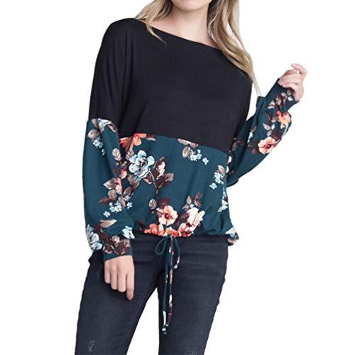 Longues Chemisier Manches Shirt Bringbring Femme Imprim Top Shirt en Lacets Floral Vrac Vert T zqtwx14