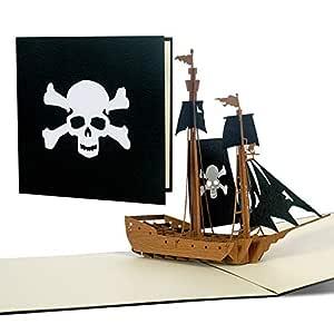 Pop Up Barco Pirata, tarjeta de invitación para un ...
