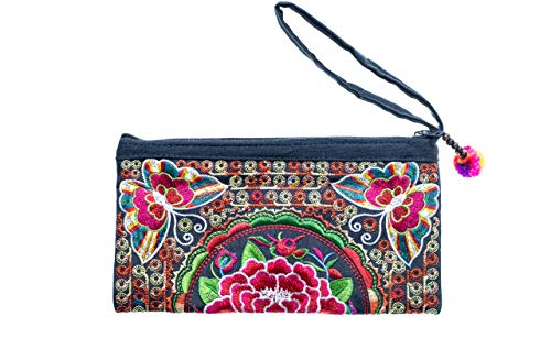 Cotton Rose, Embroidered Clutch, Boho Wristlet, Hippy Purse, Bohemian Purse, Gypsy Purse, Hippie Purses, Phone Wallet, Boho Clutches Bags (BCS Multicolor)