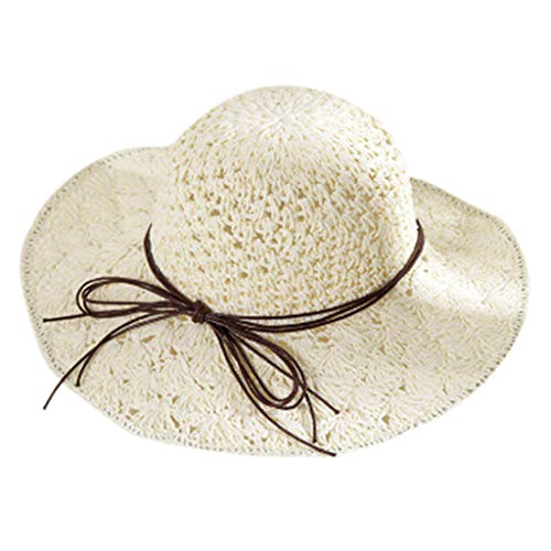 HYIRI Anti-UV 1x Women Bowknot Straw Hat Stripe Floppy Foldable Roll up Beach Cap Sun Hat White]()