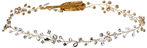 Twigs & Honey Women's Simple Crystal Hair Vine Bridal Hairpiece, Gold, One Size by Twigs & Honey