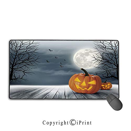 Non-Slip Rubber Base Mouse pad,Halloween,Cold Foggy Night Dramatic Full Moon Pumpkins on Wood Board Trees Print,Grey Orange Black,Suitable for laptops, Computers, PCs, Keyboards, Mouse pad with Lock,