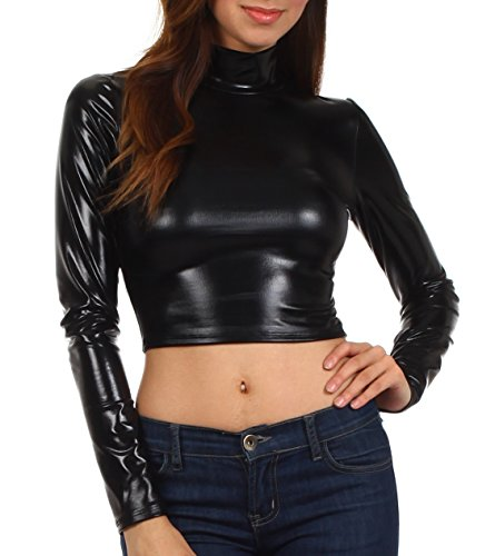 Sakkas 141786 Metallic Liquid Mock Neck Turtleneck Long Sleeve Crop Top - Made in USA - Black - M
