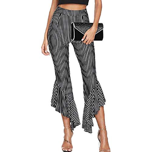 vermers Clearance Sale Women's Leisure Ankle-Length Pants - Women Holiday Fashion Striped Casual Cropped Pants Trousers(XL, Black)