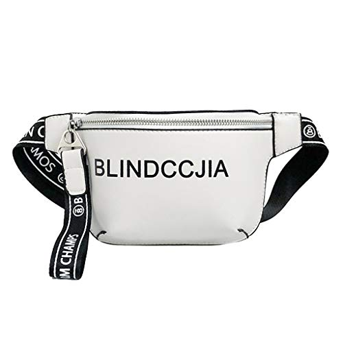 Cintura Mujer Bolso 8 69 x con 36 de 21 2 x x 17cm Blanco para Blanco Dabixx x Cremallera 6 Negro 6 Color 27 EI4qdwW