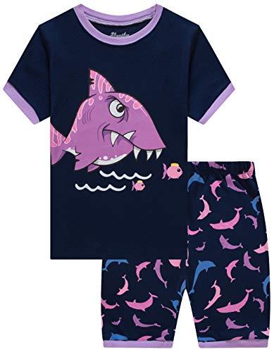 Slenily Pajamas for Girls Pj Shorts Snug Fit Shark Toddler Summer Sleepwear Set Size 8T ()