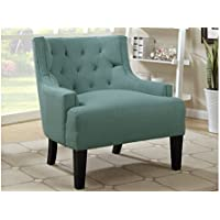 Poundex Accent Chair Upholstered, Light Blue Poly-Fiber