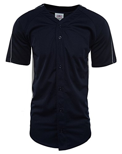 Teamwork 2 Color Full Button Diamond Core Wicking Baseball Jersey Mens Style: 1777B-733 Size: L Navy Blue/Silver