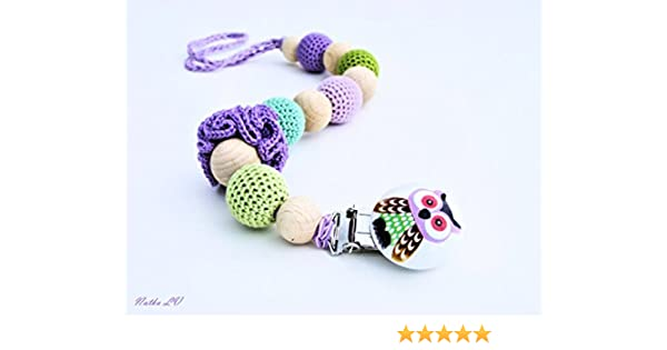Amazoncom Owl Pacifier Clip Dummy Chain Crochet Pacifier Holder