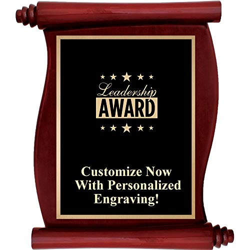 Custom Engraved Rosewood Scroll Plaques, Personalized Employee Leadership Plaque Award with Up to 5 Lines of Engraving Included Prime