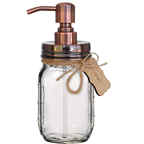 Premium Rustproof 304 18/8 Stainless Steel Mason Jar Soap Pump/Lotion Dispenser | Modern Farmhouse | 16 oz (Regular Mouth) Glass Mason Jar (Copper) ()