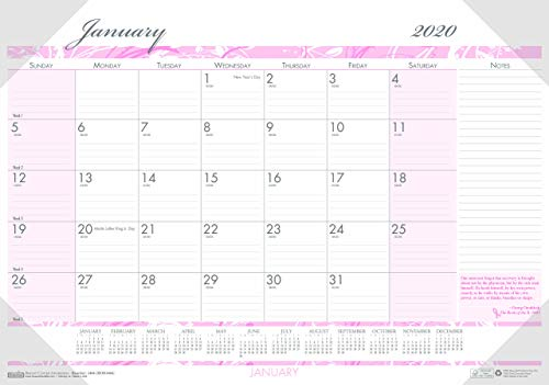 House of Doolittle 2020 Monthly Desk Pad Calendar, Breast Cancer Awareness, 18.5 x 13 Inches, January - December ()
