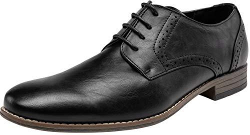 JOUSEN Men's Oxford Classic Plain Toe Brogue Formal Dress Shoes(9,Black)