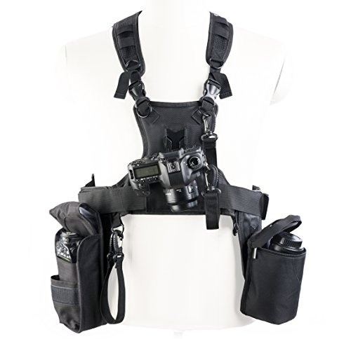 Movo MB2000 Camera Carrying System Vest with Camera, Lens, Flash Holsters, Tripod Attachment Straps, Smartphone Compartment - for Photo Shoots, Hiking, Travel