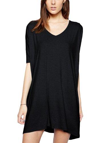 H-DY Women's V-Neck Half Sleeve Losse Casual Summer Dress Black XXL