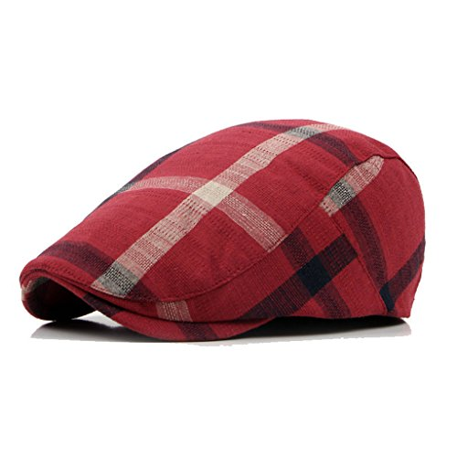 Classic Unisex Newsboy Hat Cotton Flat Plaid Ivy Irish Caps (wine)