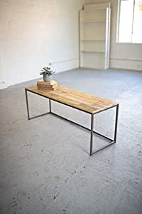 Kalalou Iron & Recycled Wood Bench
