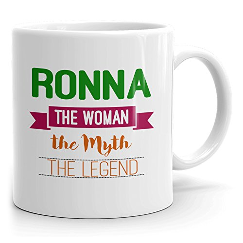 Personalized Ronna Mug - The Woman The Myth The Legend - Gifts for Women, Wife, Mom, Girlfriend - 11oz White Mug - Green